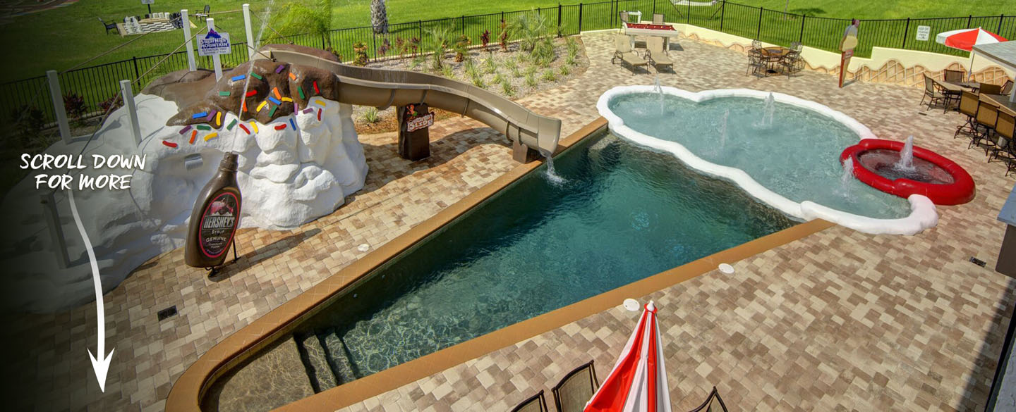 The Ice Cream Cone pool & waterslide at The Sweet Escape House (luxury vacation rental home) - near Orlando, Florida and Walt Disney World